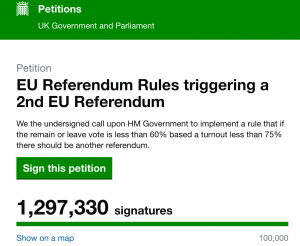 Brexit, petizione per un nuovo referendum supera 1 milione di firme