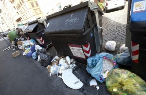 Guarda la versione ingrandita di Roma, emergenza rifiuti: cassonetti bruciati nelle periferie (foto d'archivio Ansa)