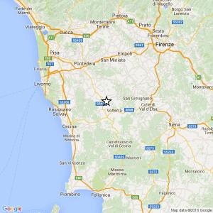 Guarda la versione ingrandita di Terremoto tra Volterra e Pisa: scossa di magnitudo 3.3