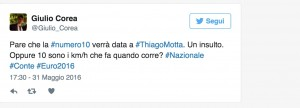 Guarda la versione ingrandita di Thiago Motta e la maglia Italia numero 10: ironia sul web