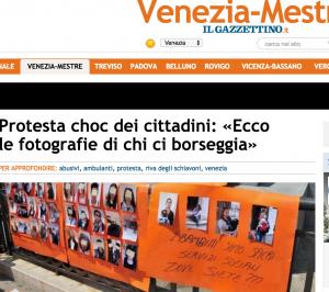 Venezia, in corteo contro abusivi e borseggiatori mostrano le loro foto