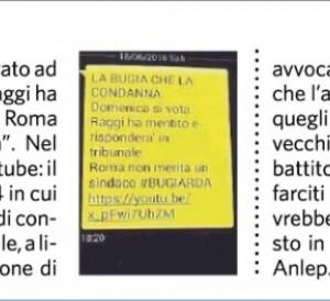 Guarda la versione ingrandita di Ballottaggio Roma, sms contro Virgina Raggi: