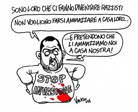 Nigeriano u****o a Fermo, la vignetta di Vauro su Salvini 01