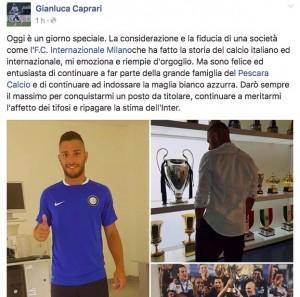 Calciomercato Inter, Gianluca Caprari ufficiale: ma resta al Pescara