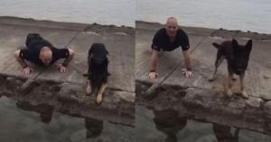 Guarda la versione ingrandita di YOUTUBE Poliziotto e cane, piegamenti sulle braccia insieme