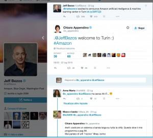 Guarda la versione ingrandita di Jeff Bezos, taggando Matteo Renzi, annuncia su Twitter l'apertura del centro di ricerca Amazon a Torino. La sindaca Chiara Appendino gli dà il benvenuto