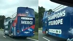 Youtube Francia presuntuosa: bus vittoria in strada prima della partita