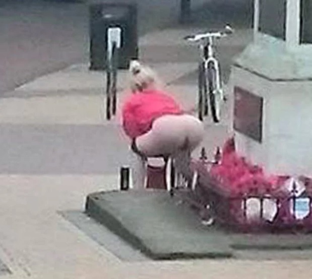 Donna Defeca Sul Monumento Ai Caduti Foto