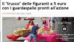 Venezia, rom figuranti in piazza: foto? Devi dare 5 euro