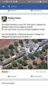 Scontro treni, Giorgio Cutrera su Facebook: 20 terroni morti, grande notizia
