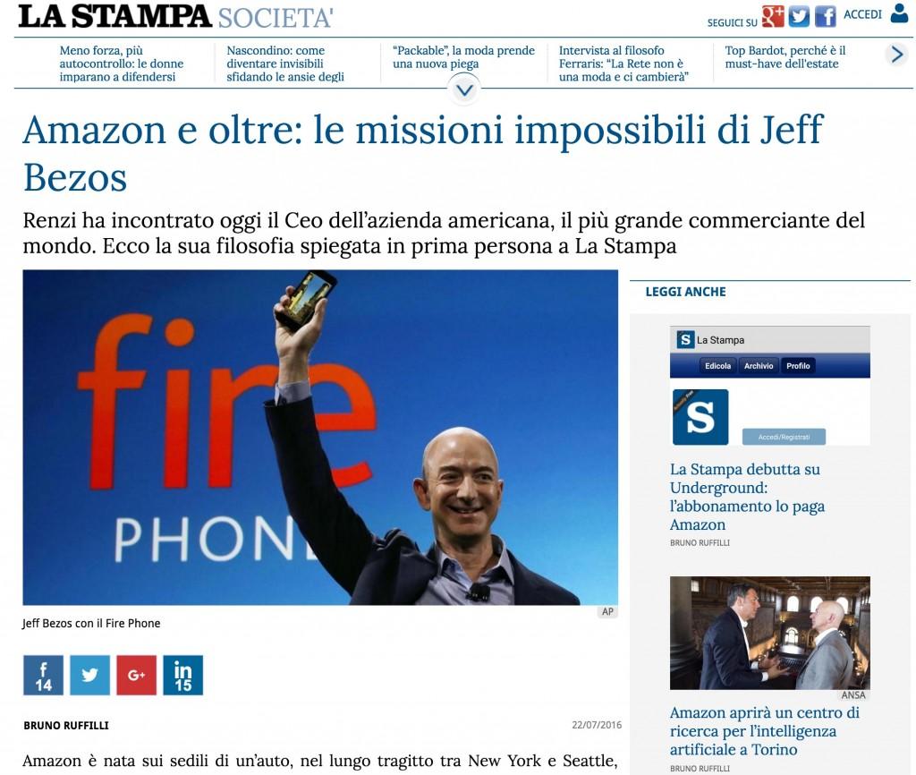 """Jeff Bezos di Amazon: """"Alle aziende piace l'invenzione, ma non vogliono affrontare i fallimenti necessari per arrivarci"""""""
