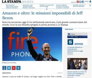 Jeff Bezos, fondatore di Amazon, intervistato da La Stampa