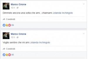 """Guarda la versione ingrandita di Marco Cirone: """"Jolanda dove sei? Dimmelo ancora una volta che mi ami"""""""