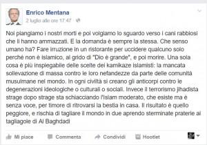 "Dacca, Enrico Mentana: ""Perché Islam moderato non si ribella?"""