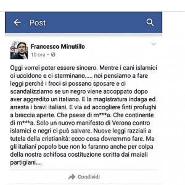 """Francesco Minutillo (FdI): """"Leggi razziali contro i maiali islamici e i negri. E poi quei f..."""""""