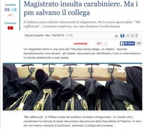 Pm insulta carabiniere che gli chiede i documenti: caso archiviato