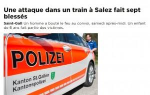 Svizzera, 27enne armato di coltello attacca sul treno, 7 feriti