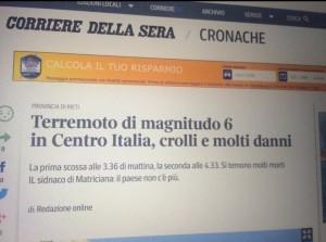 "Corriere.it, gaffe: ""Terremoto a Matriciana"". Web insorge"