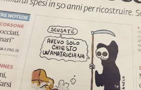 Terremoto Amatrice, la vignetta choc sulla prima pagina del Fatto Quotidiano