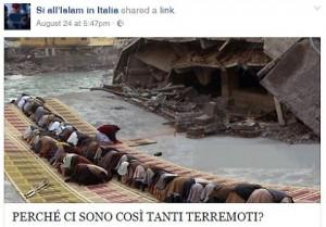 """Terremoto, pagina islamica. """"Sisma voluto da Allah, solo così potete salvarvi"""""""
