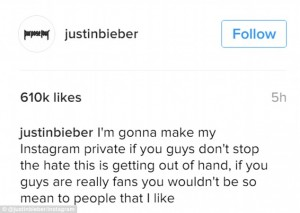 Justin Bieber, ai fan non piace Sofia Richie e lui minaccia di ...FOTO