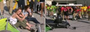 Rio 2016, telecamera sospesa crolla su spettatori
