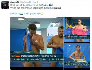 Guarda la versione ingrandita di YOUTUBE Rio 2016, tuffatori e l'illusione ottica delle scritte in tv…
