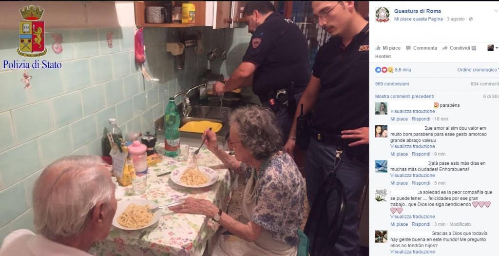 Roma, agenti cucinano pasta al burro ai 2 anziani soli