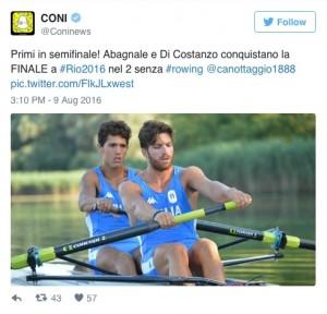 Guarda la versione ingrandita di Rio 2016, Giovanni Abagnale e Marco Di Costanzo in finale nel 'due senza'