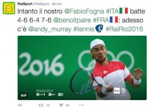 Rio 2016, tennis: Fognini ai quarti, ora c'è Murray
