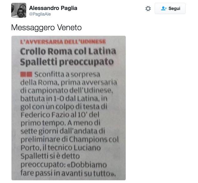 Clamorosa gaffe del Messaggero Veneto: Latina-Roma 1-0