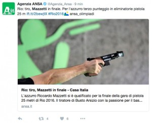 Rio 2016, tiro a segno pistola 25 m.: Mazzetti in finale
