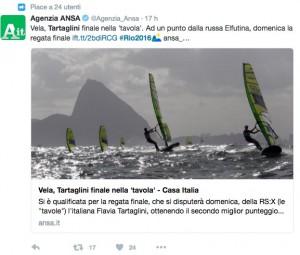 Rio 2016, vela. Spagnola squalificata, Tartaglini in testa