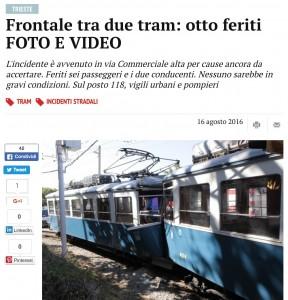 Trieste, scontro frontale fra tram: otto feriti