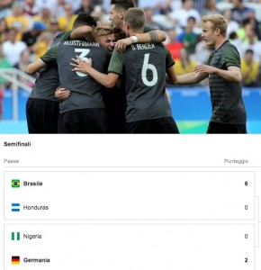 Rio 2016, calcio: Brasile-Germania in finale. Nigeria eliminata