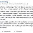 """Terremoto Centro Italia, Mark Zuckeberg: """"Molto dispiaciuto. Lunedì sarò a Roma"""""""
