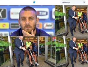 Guarda la versione ingrandita di Maxi Pereira su sedia a rotelle: Daniele De Rossi si scusa  (da Twitter)