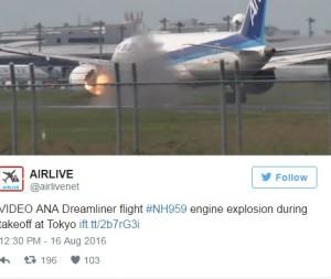 Guarda la versione ingrandita di Motore Boeing esplode durante il decollo