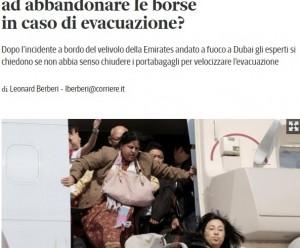Guarda la versione ingrandita di Aerei, il 50% dei passeggeri preferisce la borsa alla vita (foto da Corriere.it)