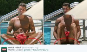Guarda la versione ingrandita di Cristiano Ronaldo con lo smalto nero ai piedi... (foto da Twitter)