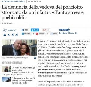 Guarda la versione ingrandita di Lo sfogo di Danila, vedova del poliziotto Diego Turra, raccolto dal Secolo XIX