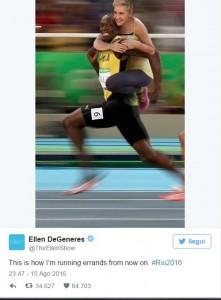 Guarda la versione ingrandita di Rio 2016, Ellen DeGeneres accusata di razzismo per fotomontaggio con Bolt