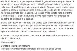 """Sassuolo-Stella Rossa, Confcommercio invita a """"chiudere i negozi"""""""