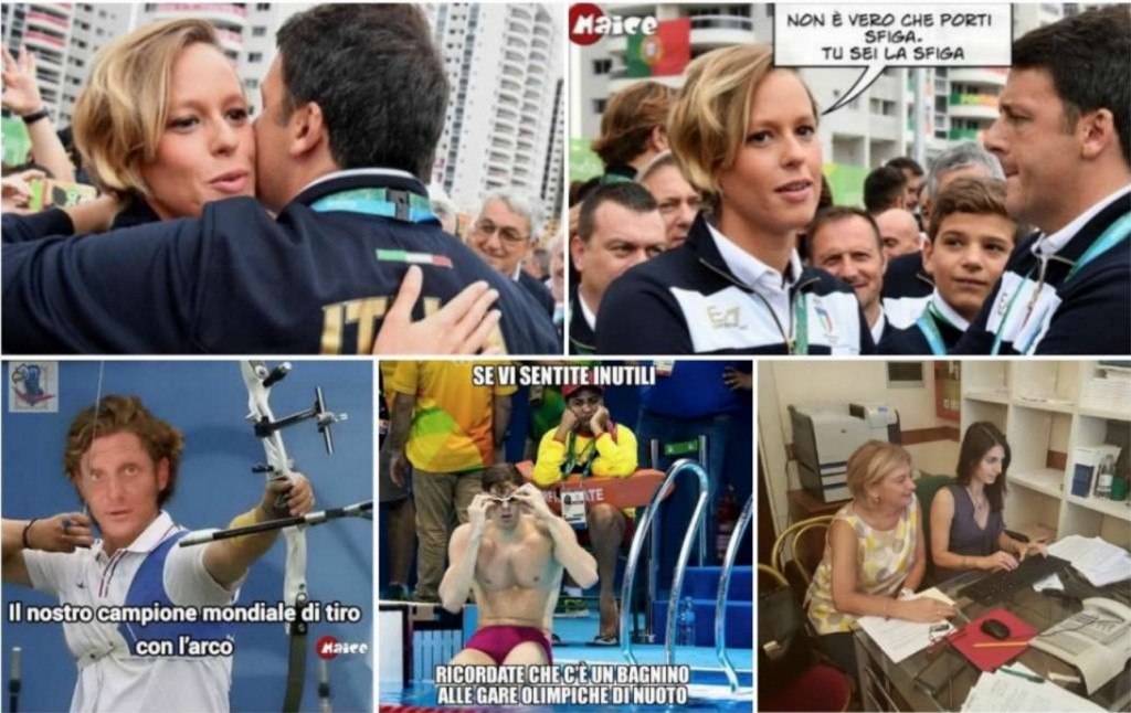 """Rio 2016. Federica Pellegrini, Rossella Fiamingo: """"Ora abbiamo la certezza che gli abbracci di Renzi sono fatali"""" (foto Dagospia)"""