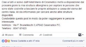 """Fiorella Mannoia su Fb: """"Ospito sfollati terremoto in hotel"""". Ma non è suo"""