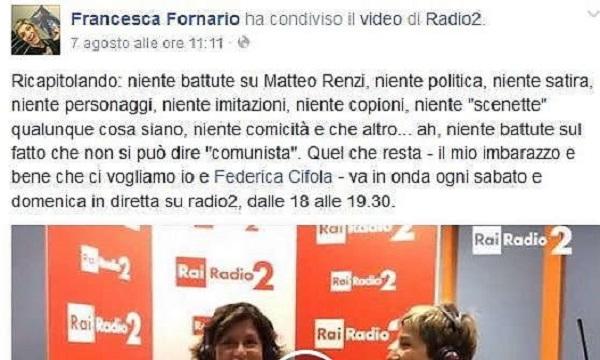 """Francesca Fornario: """"Radio Rai mi ha detto stop alla satira su Renzi"""""""