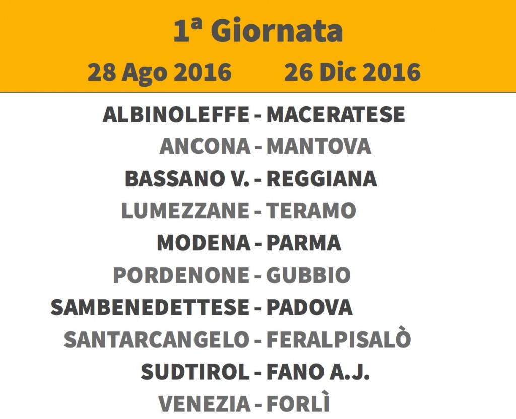 Calendario Lega Pro girone B 2016-17: pdf, orari, date e pause
