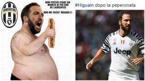 Guarda la versione ingrandita di Gonzalo Higuain grasso (FOTO): tifosi Napoli sfottono Juventus