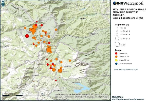Terremoto Centro Italia: mappa delle scosse