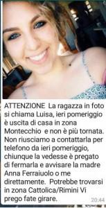 Guarda la versione ingrandita di Luisa Trotta, 18 anni, scomparsa a Montecchio
